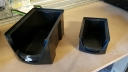 Stackable black storage bins